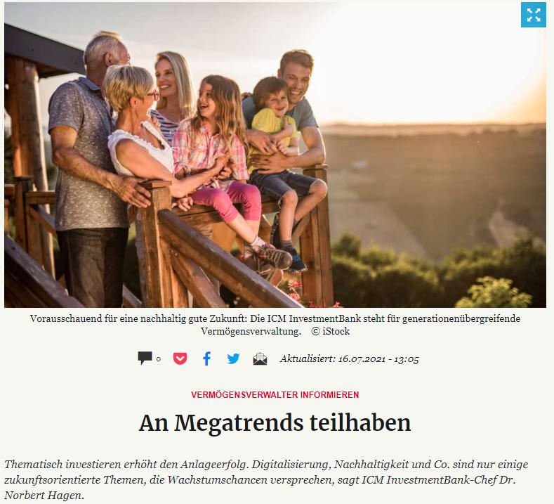 Vermögensverwalter informieren: An Megatrends teilhaben